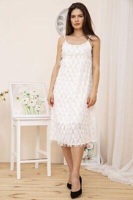 Women's midi dress with fringe color Powder