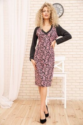 Straight Pencil Dress with Pattern Color Gray Pink