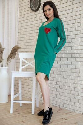 Loose jersey dress with pockets color Green
