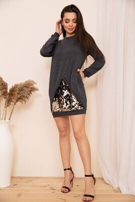 Loose dress tunic with sequins color Black