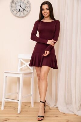 Slim-fit short dress with frill color Chocolate