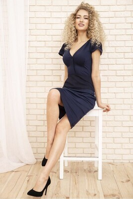 Pencil dress with short sleeves color Black