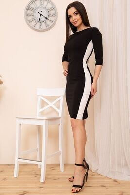 Bodycon dress with contrasting stripes color Black