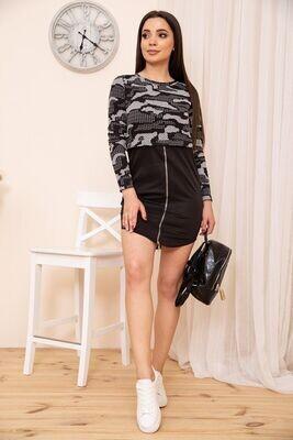 Short dress with front zipper color Black