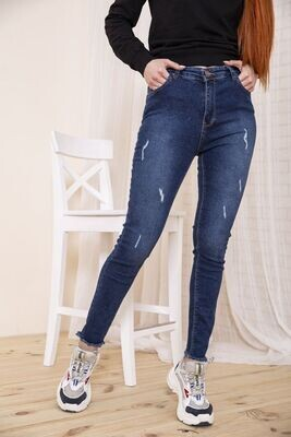 Синие прямые джинсы для женщин с принтом