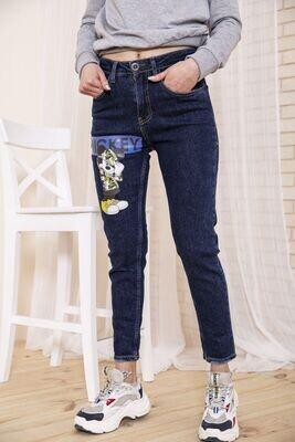 Женские темносиние джинсы с Микки Маусом