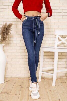 Темносиние женские джинсы скинни с поясом