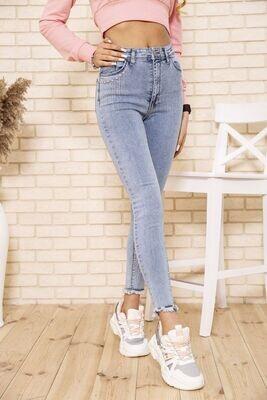 Женские голубые джинсы скинни со стразами