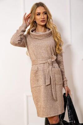 Women's dress with a belt color Gray
