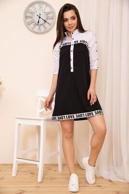 Stand-up collar dress color Black and white