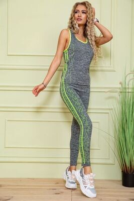 Fitness suit female color Gray-green