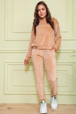 Sport suit female velor color Beige