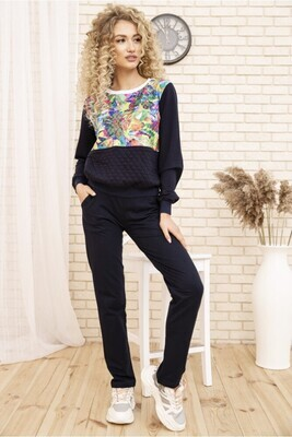 Women's casual two-thread suit Sweatshirt and pants color Blue