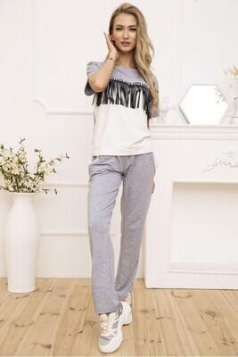 Women's walking suit T-shirt and pants color Gray