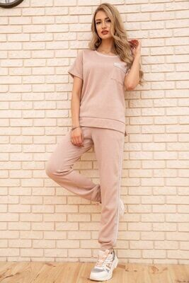 Tracksuit women's T-shirt and pants with stripes Powdery