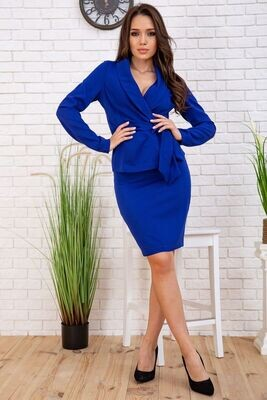 Suit for women jacket with belt and pencil skirt Electric color