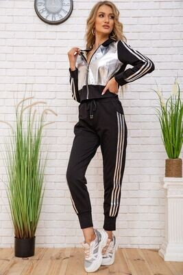 Women's tracksuit with metallic inserts, color Black and silver