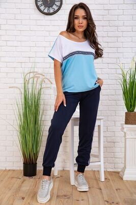 Summer suit women's casual t-shirt and jeggings Blue Blue