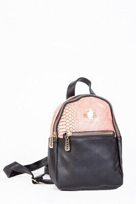Women's eco-leather backpack with snake print Powdery with black