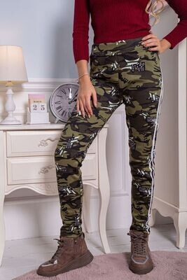 Women's leggings on fleece with a military print