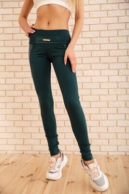 Women's leggings with eco-leather inserts, color Mocha