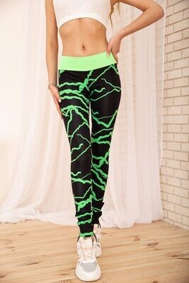 Tights for sports with neon inserts color Black