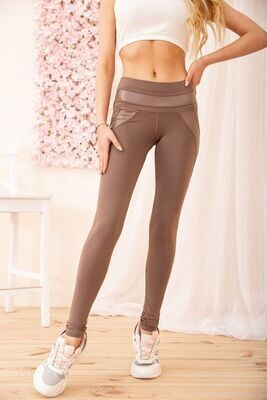 Women's leggings with eco-leather inserts Mocha color