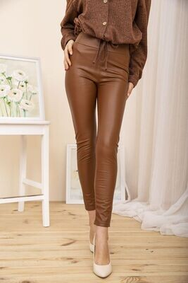 Women's leggings made of eco-leather, Khaki color