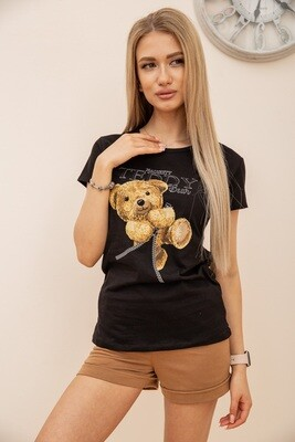 Women's T-shirt with a print Teddy Bear color Black