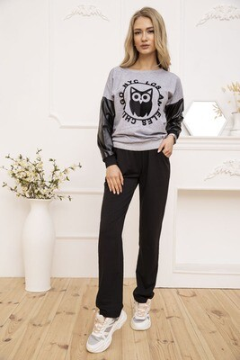Women's walking suit Sweatshirt and pants color Gray