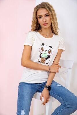 T-shirt for women with a panda color Khaki