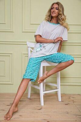 Pajamas women's batal color Gray-green