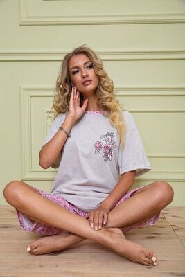 Pajamas women's batal color Gray-pink