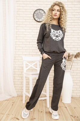 Women's walking suit two-thread Sweatshirt and pants with stripes Dark gray