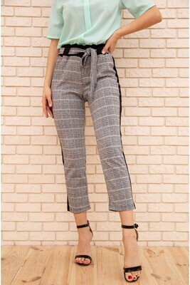 Women's cropped trousers in a cage with stripes color Gray