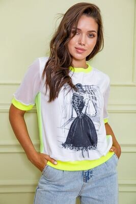 T-shirt blouse female color White-yellow