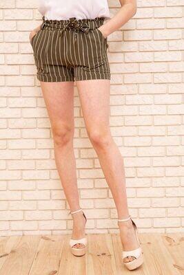 Women's striped shorts with belt in Khaki