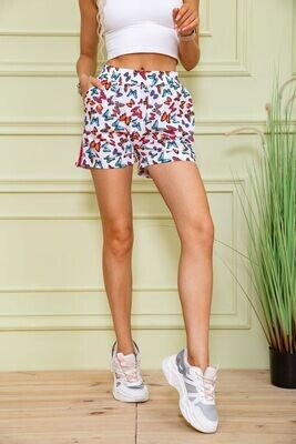 Women's shorts color White-red