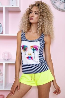 T-shirt female color Blue-white