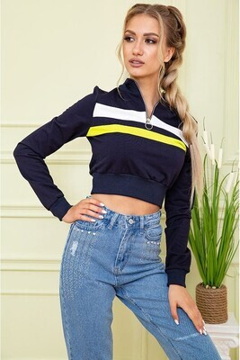 Cropped sweatshirt for women with zipper color Blue