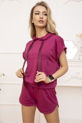 Women's suit cropped hoodie and shorts fuchsia color