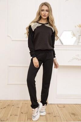 Women's walking suit two-thread Sweatshirt and pants color Black