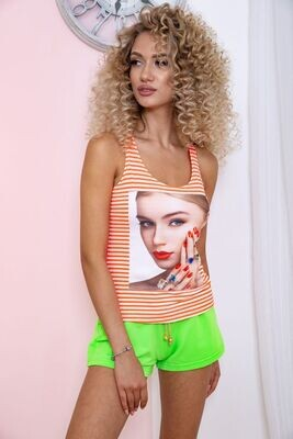 T-shirt womens color Orange-white