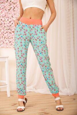 Summer Cotton Floral Pants Color Blue