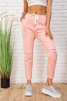 Summer cotton pants for women with elasticated peach color