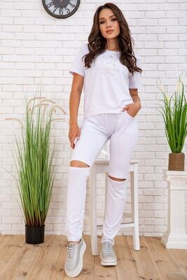 Summer women's suit T-shirt and pants with slits color White