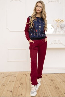 Women's walking suit two-thread Sweatshirt and pants Burgundy
