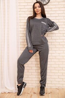 Women's Casual Suit Sweatshirt and Pants with Side Stripes Black
