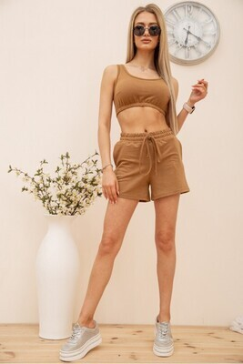 Casual womens suit short top and shorts color Olive