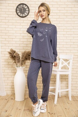 Monophonic tracksuit for women with butterflies color Dark gray